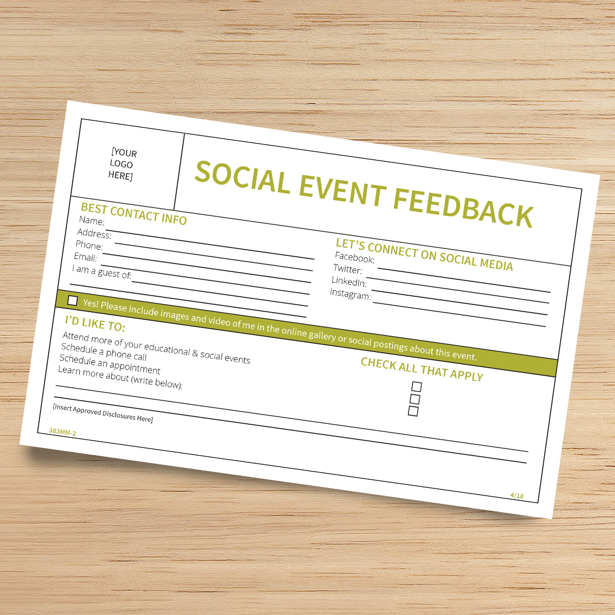 Event Feedback Form | Social Event Feedback Form Midland National