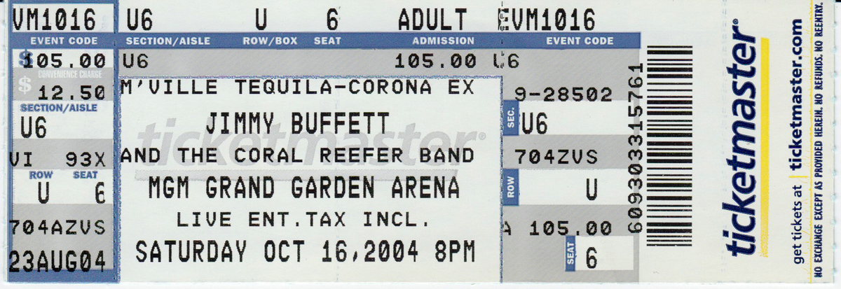 Ticketmaster Jimmy Buffett