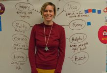 Dutton Elementary School teacher Heidi Kruizenga was surprised to become the center of a bubble map