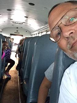 Britten takes time for a selfie on the bus