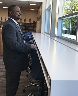 Principal Kevin Simmons looks out of the new media center