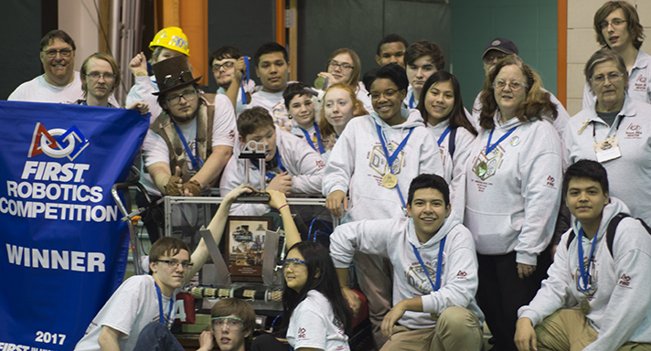 The GRPS Robotics Team 904 D-Cubed joined two other teams to form an alliance that won first place in qualification play