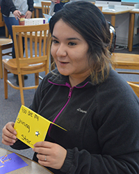Senior Betty Almanza created a musical card using a kit called Musical Kinetics