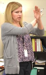 Math teacher Lindsey Gallas shows how perpendicular lines look
