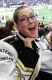 Western Michigan University Marching Band member Heather Price
