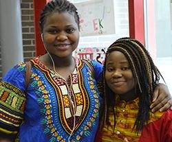 Sophomore Maria Rukebuka and freshman Myriam Angazo represent Congo