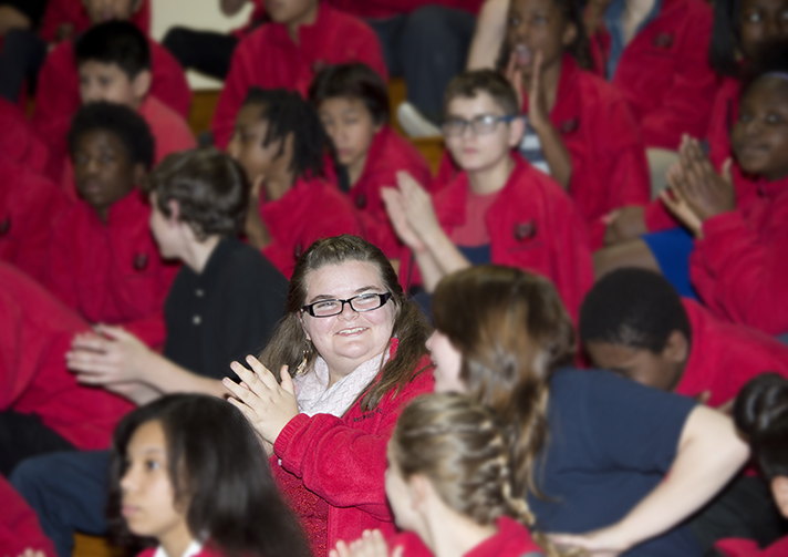 MacKenzie Ferguson, 8th grade, is so excited at the assembly!