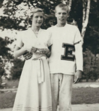 Thomas Payette and his future wife, Virginia, as students at EGR High School when it was located in what today is Wealthy Elementary, circa 1951 (photo courtesy EGRPS)