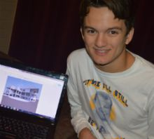 EGR High School senior Alex Pritchard and a house he is designing that will accommodate generations
