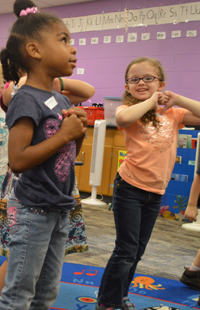 Students in West Elementary teacher Julie Merrill's class are constantly moving while learning