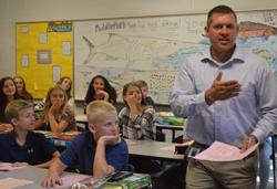 Daryl Bronkema welcomes students to Algebra 1