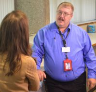 Tech Center instructor Richard Vandermey talks with Fox 17's Erica Francis