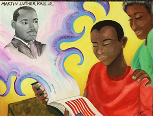 """Kibsaim """"Kibsy"""" Ruiz Salva's painting won second place in the Hope Restored Empowerment Center 2016 Soul Food Eat and Greet Excellent Art Award contest"""