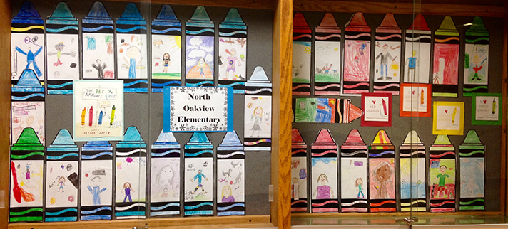 Haugen's students made crayon images of themselves to show during a musical concert based on coloring