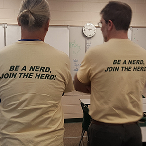 Teachers Dave Staublin and Steve Virkstis recruit students to the Nerd Herd