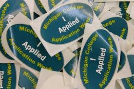 "Students wore ""I Applied"" stickers after applying to colleges"
