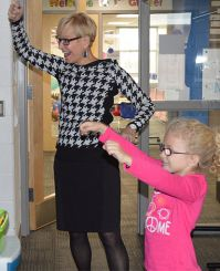 Principal Barb Johnson joins the classroom fun
