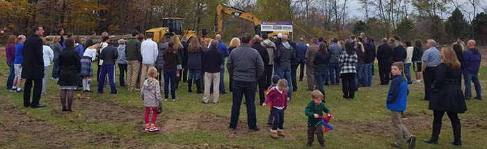 Nearly 100 people from the schools, the project teams and the community attended the Tuesday afternoon groundbreaking ceremony at Caledonia High School,9050 Kraft Ave. SE