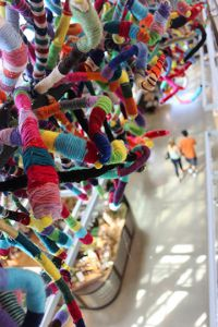 """Connectivities,"" an ArtPrize entry by thousands of Forest Hills students and staffers, is displayed at the Grand Rapids Downtown Market"