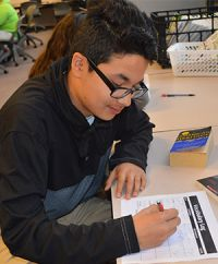 Lee High School freshman Paul Villareal studies vocabulary words