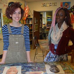 Seniors Lordia DePiazza and Heidi Glynn created portraits of children in Ghana for them to have as keepsakes