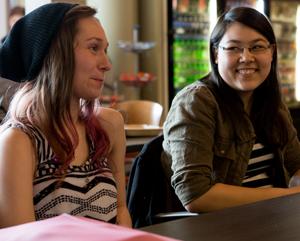 Sarah Carpenter, left, says she enjoyed studying and socializing with fellow Kenowa Hills students like Alexis Kole (photo courtesy of Davenport University)