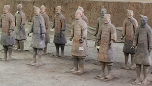 "Some of the ""Terracotta Warriors"" guarding the tomb of China's first emperor near Xi'an"