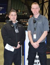 Criminal justice students Matt Schievink, left, and Jonathan Shereda help the security firm to make sure events run smoothly