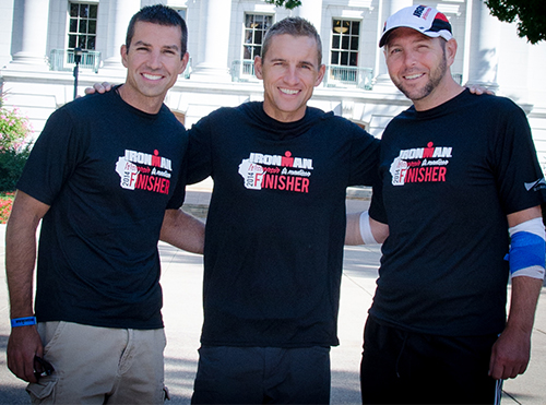 Scott Joseph, Tom Trout and Jason Pierson wear their Ironman Finisher shirts