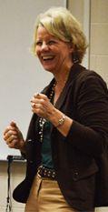 Julie VanderLaan lights up while teaching