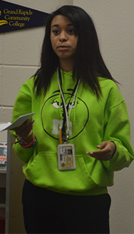Godwin Heights student Marissa Navarro asks a question about the Early College program after finding out she was one of 25 juniors selected for it