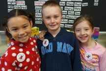 Happy to be heroes were, from left, Teagan Padilla, Ethan Helmholdt and Kendall Johnson