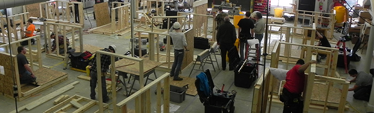 Construction Trades students were required to frame a wall up to code