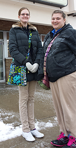 Amanda Bremmer, right, helped classmate Allison Cowell, left, learn about her work at Rite Aid