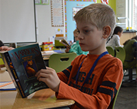 A Brown Elementary third grader works on a reading exercise