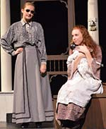 Teacher Annie Sullivan, portrayed by Hannah Moore (left), shows her exasperation with Helen Keller, played by Morgan Maggini