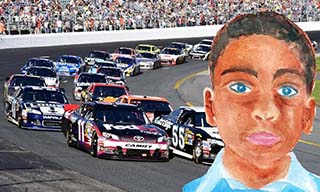 Katelyn Hamming made a picture of the young boy she received into a race car driver