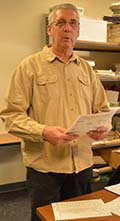 Hank Smoker works on copies