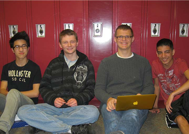 From left: Byron Center High School sophomores Andrew Rellinger, Jesse Ursiny, Trace Horvath and Vinh Tran work on an extra credit science project during Whatever I Need time