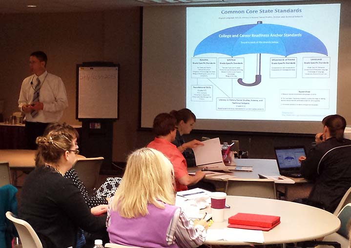 Kent ISD educational consultant Mark Raffler leads a session on English language arts at a recent Common Core workshop