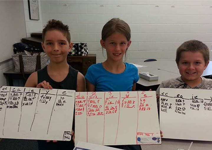 Kent City Elementary School fourth-grade students Jack Munn, Tayler Lucht and Denver Golden show charts creating during Reading Rocks! summer program