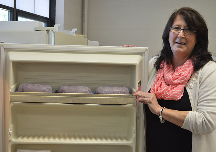 Robin DeLine, secretary at Beach Elementary School, stocks a freezer with items for the Beach Picnic Basket program