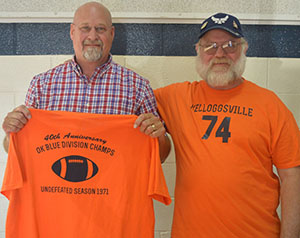 (From left to right) Rich Bolhuis and Dan Roeloffs were on the 1971 undefeated Kelloggsville High School football team