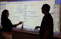 English teacher Lindsey Tilley (left) and Spanish/math teacher Robin Paredez work on a whiteboard using the Mimio interactive projector system
