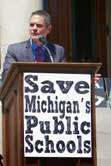 Members of the Parents for TK Schools were among the hundreds who attended the Save Michigan Public Schools rally in June at the state capitol in Lansing, where gubernatorial candidate Mark Schauer spoke  Courtesy photo
