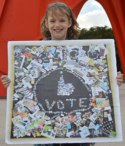 "Rhianna Peterson of Rockford with her ArtPrize-winning collage, ""Art in Art in Art in Art"""