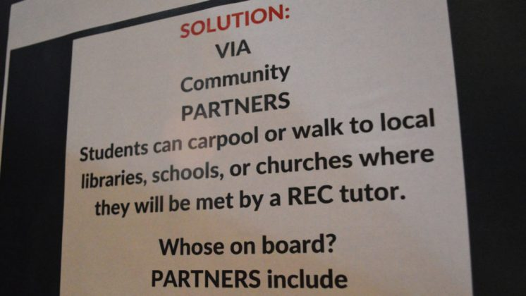 Solution: Students can carpool to local libraries, schools, or churches where they will be met by a REC tutor.