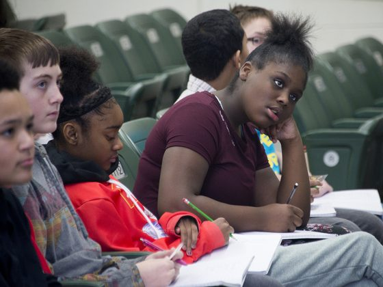 Valleywood seventh-grader Tanazya Freeman soaks it all in at The Diatribe poetry workshop