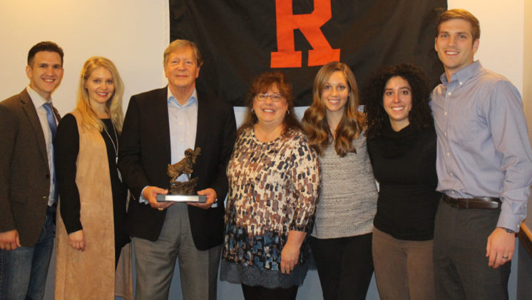 Celebrating Shibler's Rockford Athletic Hall of Fame Award last fall are his family, from left: son-in-law Tomis Kroondyk; daughter Katie Kroondyk; Shibler and his wife, Connie; daughter Chelsea Zimerle; daughter Holly Shibler; and son-in-law Broc Zimerle