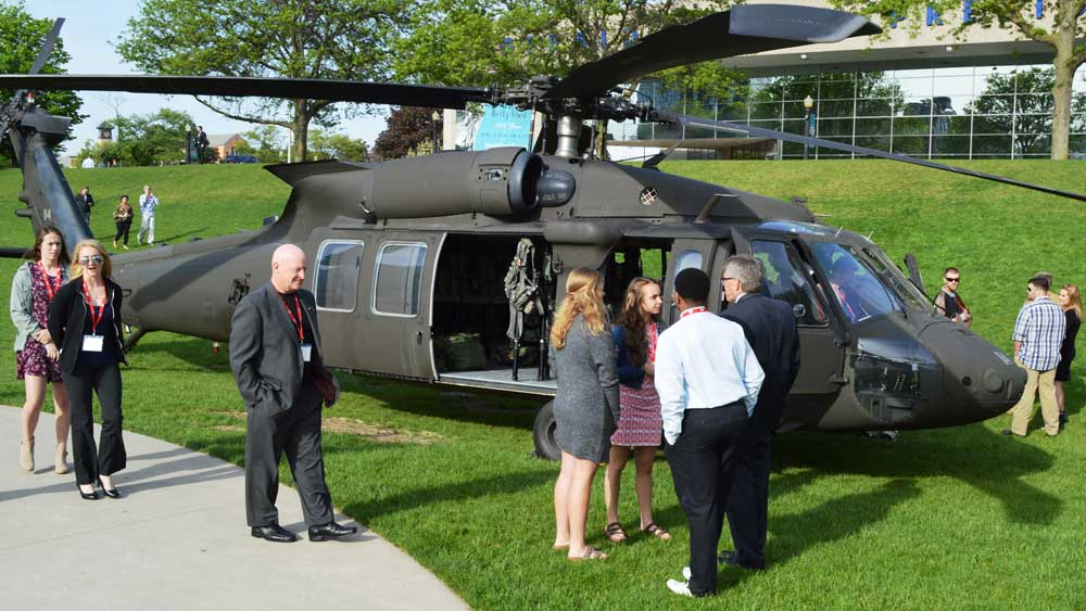 The Black Hawk helicopter was on display in front of the Gerald R. Ford Museum for students, who were encouraged to talk to their fellow classmates about what they had seen and learned at the Armed Forces Thanksgiving event
